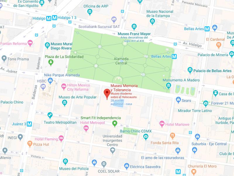Mapa de ubicación Museo Memoria y Tolerancia