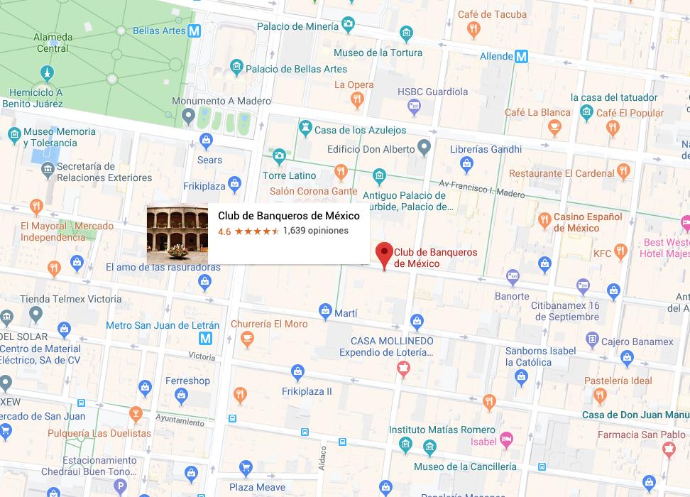 Mapa de ubicación Club de Banqueros